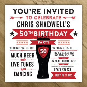 Personalised Mens Birthday Party Invites - adults party invitations