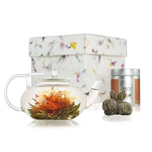 Lotus Flowering Tea Gift Set With Glass Teapot - cups & saucers