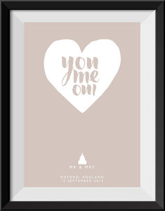 'You, Me, Oui' Personalised Wedding Day Print