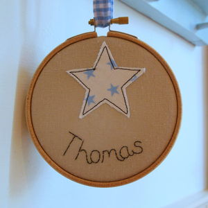 Mini Star Embroidered Name Hoop