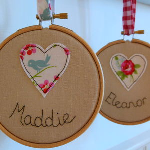 Mini Heart Embroidered Name Hoop