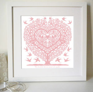 Personalised Valentines Love Birds Tree Heart Print