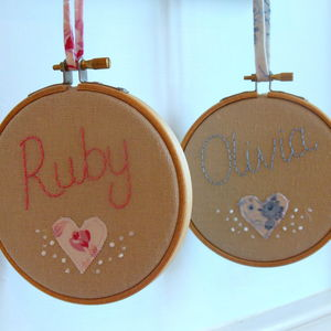 Mini Beaded Embroidered Name Hoop