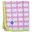 Pink Sheep Baby Blanket In Organic Cotton