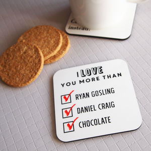 Personalised 'I Love You More Than' Coaster - kitchen