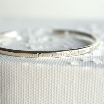 Personalised Roman Numerals Silver Bangle