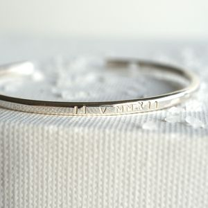 Personalised Roman Numerals Silver Bangle - birthday gifts