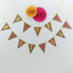 Brown Kraft And Neon 'Happy Birthday' Bunting