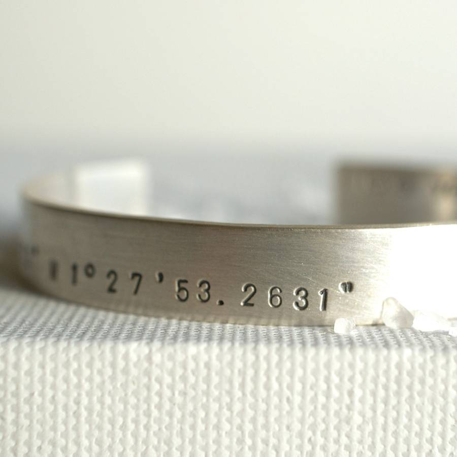 with sterling fullxfull coordinates cuff products il bracelet personalized longitude latitude silver