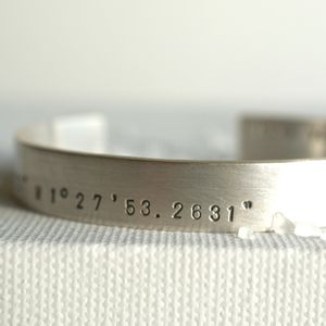 Mens Personalised Latitude Longitude Silver Bracelet - birthday gifts