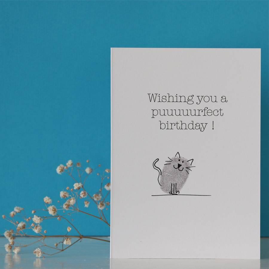 Boyfriend Birthday Card By Adam Regester Design: Cat Thumb Print Birthday Card By Adam Regester Design