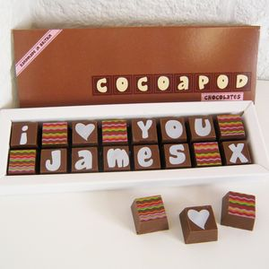 I Love You Chocolate Box With Name - personalised