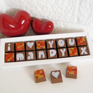Chocolate Box With 'I Love You' And Name - chocolates & confectionery