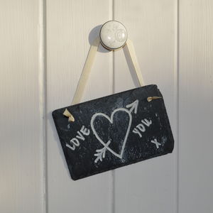 Love Heart Carved In Slate - room signs