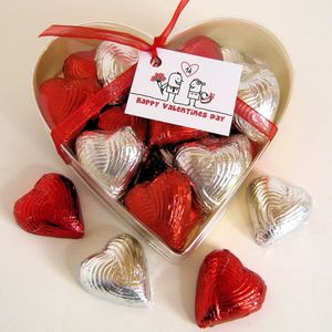 Valentines Heart Box Of Foiled Chocolate Hearts - gifts for him