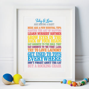 Personalised New Parents Print - gifts for new mothers