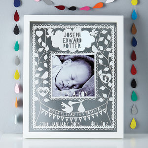 Personalised New Baby Papercut - mixed media & collage