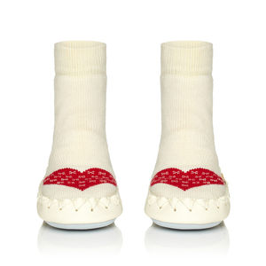 Child's Warm Heart Moccasin Slippers