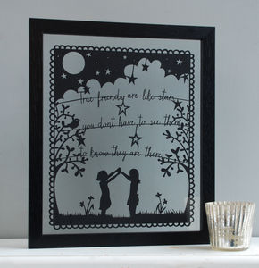 'Friends Are Like Stars' Papercut Picture