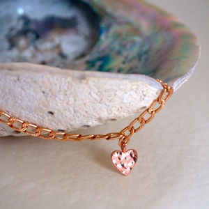 Rose Gold Tiny Heart Charm Bracelet