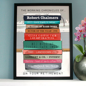 Personalised Retirement Book Art