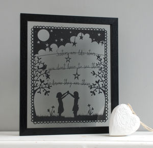 'Sisters Are Like Stars' Papercut Picture - contemporary art