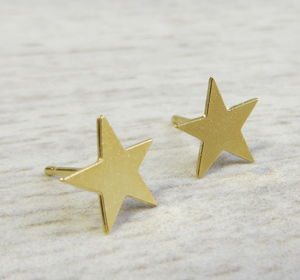Tiny Gold Star Studs - earrings