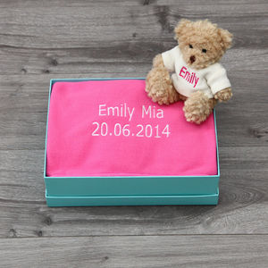 Personalised Fleece Blanket And Bear Baby Gift Set - new baby gifts