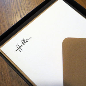 'Hello' Box Set Of Letterpress Notecards - office accessories