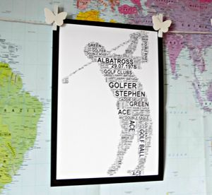 Golfer Personalised A4 Sports Word Art. Three Poses