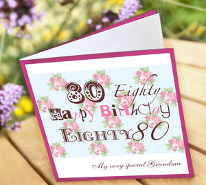Personalised 80th Birthday Card - special age birthday cards