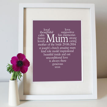 Mother Of The Bride Groom Personalised Print