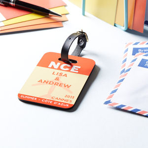 Airport Code Vintage Style Luggage Tag Personalised - luggage tags & passport holders