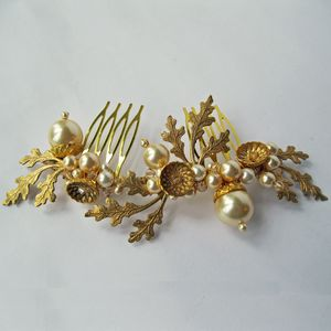 Petworth Pearl Acorn Hair Comb - wedding jewellery