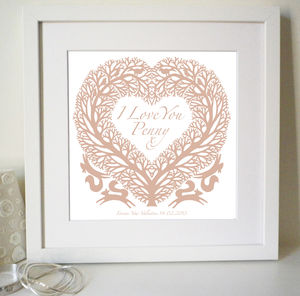 Personalised Valentines 'I Love You' Heart Print