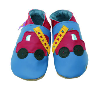 Soft Leather Baby Shoes Fire Engine Blue