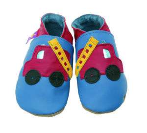 Boys Soft Leather Baby Shoes Fire Engine Blue - babies' slippers