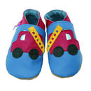 Boys Soft Leather Baby Shoes Fire Engine Blue