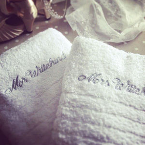 Personalised Luxury Wedding Towels - 2nd anniversary: cotton
