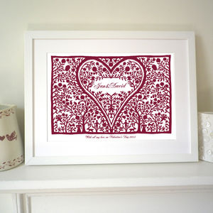 Personalised Valentines Romantic Love Heart Print