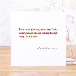 'Love Never Gives Up' Classic Bible Verse Card