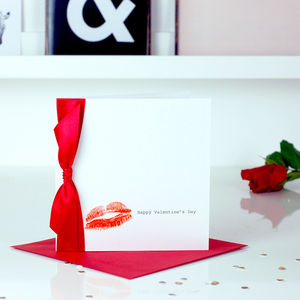 Kiss Lipstick Personalised Valentines Card - personalised cards