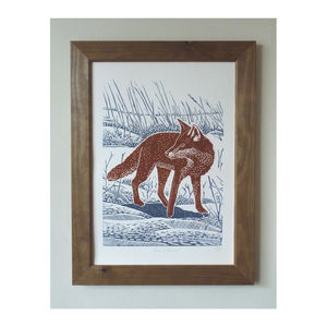 Fox In The Snow Linocut Poster Print