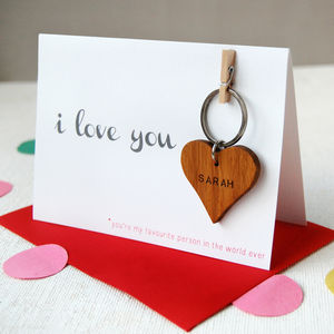 Personalised 'I Love You' Key Ring Card - 5th anniversary: wood