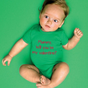 Personalised 'Will you be my valentine' Babygrow
