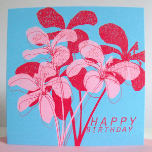'Happy Birthday' Floral Card - summer sale