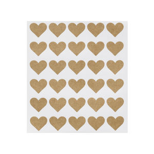 Set Of 60 Kraft Heart Stickers