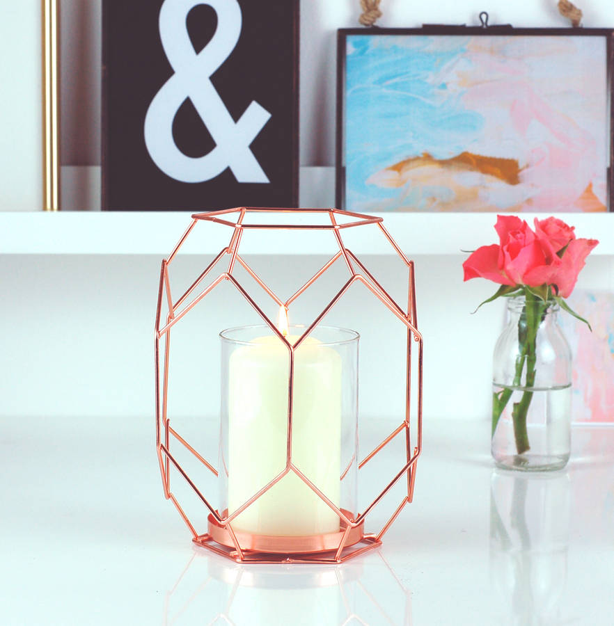 Copper Rose Gold Geometric Candle Holder Lantern By Made