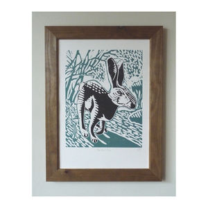 Black Hare Linocut Poster Print - posters & prints