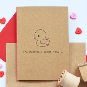 'I'm Quackers About You' Valentine's Day Card